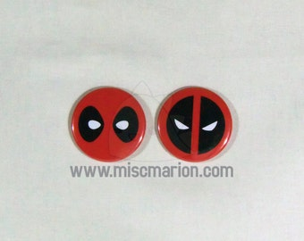 Deadpool Buttons, Magnets or Keychains 1.5 Inches