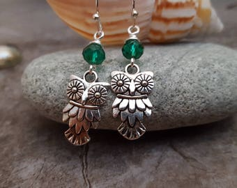 Silver Owl Teal Crystal Earrings, Antique Silver Owl Earrings, Teal Green Earrings, Owl Jewelry, Unique Gift Idea, Gift for her, Nature