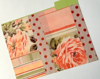 Decorative File Folder, Peach and Green Collage File Folder, Cute File Folder, Desk Accessory, File Organizer  PSS 3605