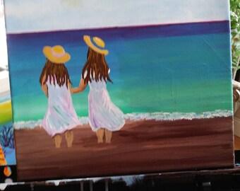 Sisters on a beach