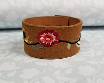 Jkleathers Embroidered Vegan faux leather cuff hand stamped optional wear your story bracelet custom personalized