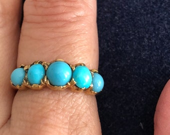 Five Stone Turquoise Gold Ring
