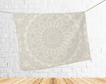 Printed Blanket, Yoga Blanket, Mandala print blanket, Line art, Gray mandala print, Adult blanket, Mandala blanket, Fleece adult blankets