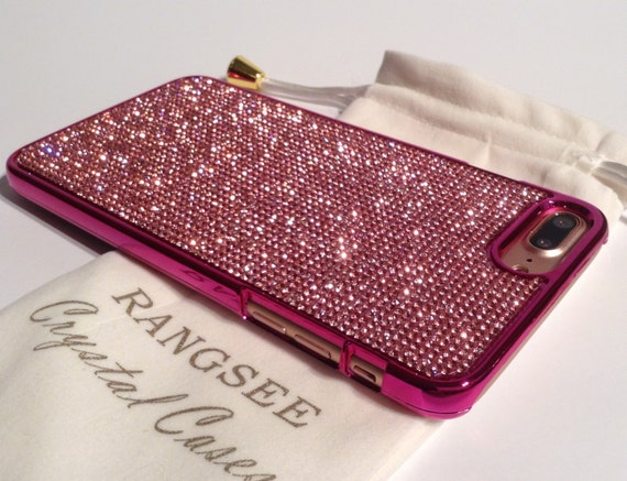 iPhone 8 Plus Case / iPhone 7 Plus Case Pink Diamond Rhinestone Crystals on Pink Chrome Case. Velvet Pouch Included,