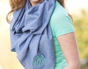 Monogram Scarf, Chambray Scarf, Personalized, Christmas gift, Womens Gift, Teachers Gift, Teen Gift, Monogram Chambray, ladies gift, gift