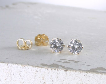April Birthstone Earrings Gold Stud Earrings Cubic Zirconia Earrings Post Earrings Birthstone Jewelry Tiny Stud Earring Holiday Gift For Her