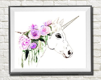 Unicorn watercolor painting print, Unicorn and flowers art, Animal art, Animal watercolor, Animal portrait, Unicorn painting, Wall art, Art
