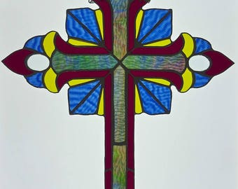 Large Cross  Stained Glass