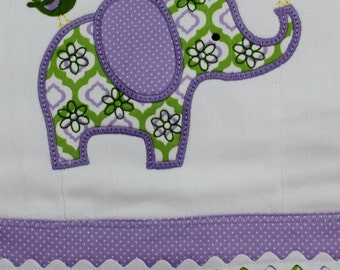 Purple and Green Elephant Personalized and Appliqued Burp Cloth for Infant Girls and Boys