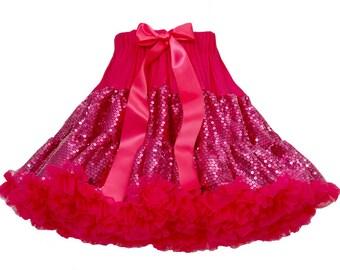 Hot Pink Sequin Girls Tutu Pettiskirt