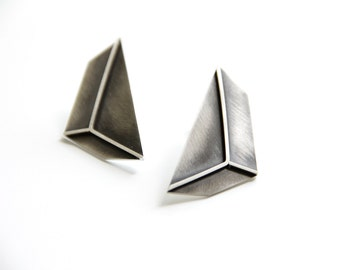 3d Effect Sterling Silver Triangle Earrings - Large Geometric Post Earrings - Statement Earrigns