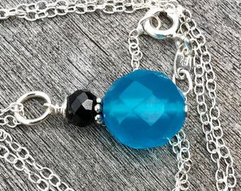 Minimalist Gemstone Drop - Oxidized Sterling Silver with Blue Chalcedony and Black Onyx Gemstone Pendant, Sky Blue Necklace, Blue Onyx Drop