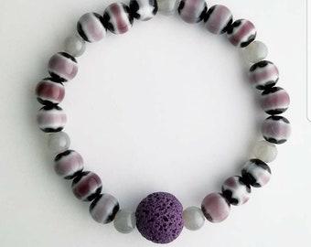 Purple, gray, and black lava stone diffuser bracelet