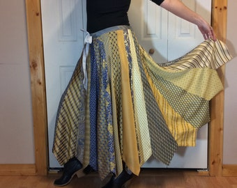 RESERVED Neck Tie Skirt, Silk Maxi Skirt, Long Skirt, Blue and Gold Neckties, Upcycled Recycled Repurposed Clothes, Women's One Size L-XL-1X