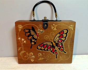 Vintage Enid Collins Style Box Purse with Butterflies / Jeweled Wooden Box Purse / 1960's