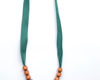 Green ribbon beaded necklace, wooden beads, mothers day gift, boho jewelry, chewelry, baby friendly necklace, tassel necklace, blue tassel