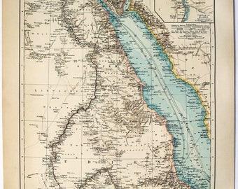 Egypt & Nubia: Original 1896 Map by Velhagen and Klasing. Antique