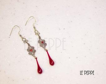 Earrings with Murano glass drop