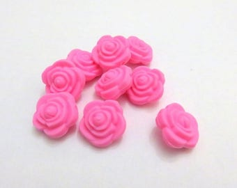 5 silicone pink teething flower beads