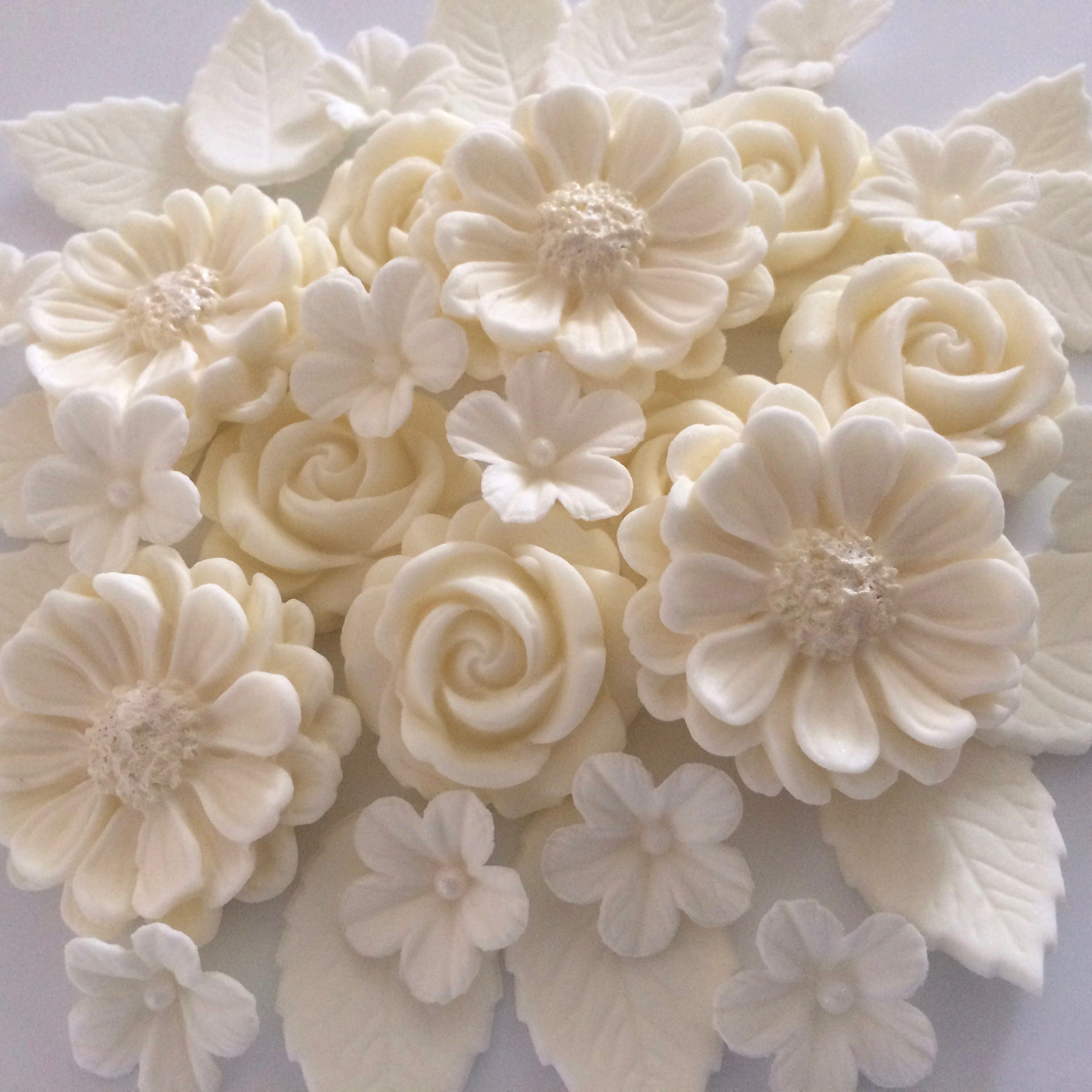 Wedding Cake Flowers Edible: IVORY ROSE BOUQUET Edible Sugar Flowers Wedding Cupcake Cake