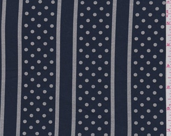 Navy/Taupe Dotted Stripe Stretch Twill, Fabric By The Yard