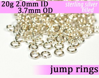 20g 2.0 mm ID 3.7 mm OD silver filled jump rings -- 20g2.00 jumprings