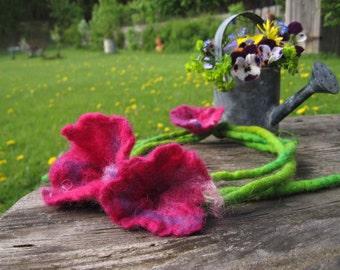 Hollyhocks Felt Flower Necklace Pink Cottage Chic Country Flowers Alcea Sumer Fashion Floral Belt Headband Felt Floral Jewelry
