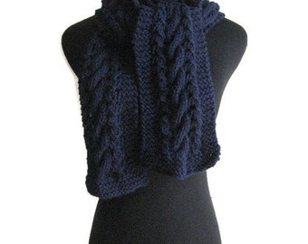 Navy Scarf Cable and Lace Vegan Scarf, Winter Accessories, Blue Scarf, Gifts For Men, Men Scarf, Women Hand Knit Scarf, Winter Scarf