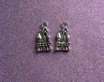 2 Antique Silvertone Castle Charms