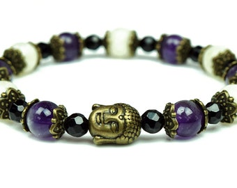 Ladies Moonstone Bracelet with Amethyst and Black Tourmaline for Protection, Healing & Inner Balance | Womens Buddha Bracelet Gift for Her
