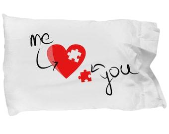 Valentines Gift/Valentine's Day Gift/Love Message/For her/For him/Anniversary Gift/Birthday Present/White Standard Microfiber Pillowcase