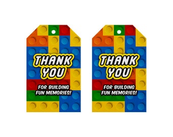 Building Blocks Favor Tags, Building Blocks Gift Tags, Building Blocks Thank You Tags, Building Blocks Birthday Party tags, Building Blocks