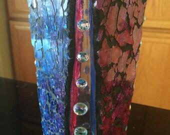 Harlequin Crackled candle holder / crackled vase