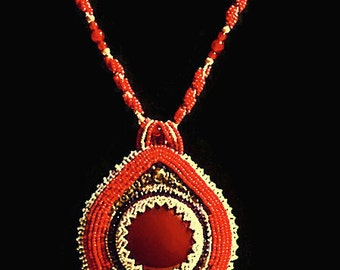 Carnelian Necklace, Red Necklace, Red Bead Necklace, Bead Embroidery Necklace, Hand Beaded Necklace, Beadwork Embroidery, Bead Embroidery