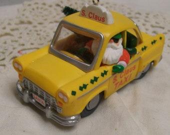 Vintage Hallmark Ornament 1990 S. Claus YELLOW TAXI Christmas Tree Ornament Santa Claus Drives a Taxi Vintage Holiday Decor