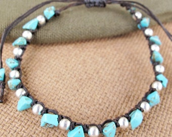 Casual Strand Turquoise Chip Stone Bracelet with Silver Color Bead