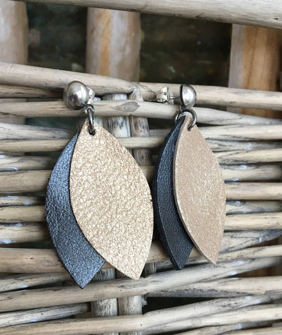Leather Earrings in Gold Shimmer and Pewter Gray - Lightweight Metallic Leather Leaf- Modern Boho Dangle Earrings