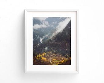 "landscape, river, forest, wilderness, fog, trees, large art, large wall art, modern, contemporary, Glacier park, art - ""Glacier Valley Fall"""