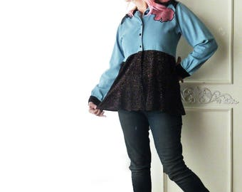 Boho denim shirt, size medium, velvet collar cuffs, lace, sparkle velvet, Upcycled, country chic, cotton, tunic top, flower, FREE SHIPPING
