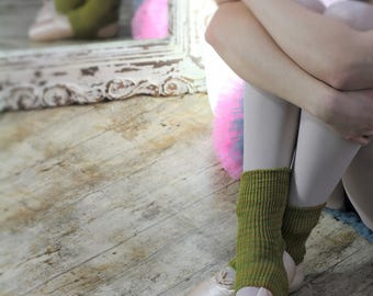 YELLOW greenish Yoga/Dancer's legwarmers - hand kranked and finished - 20cm one size fits all- COTTON ankle high two tone yellow and green