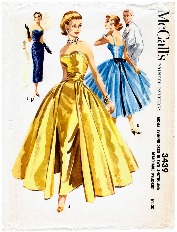 1950s 1960s Abendkleid Vintage Nähen Muster Reproduktion