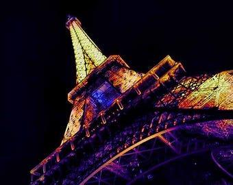 Eiffel Tower Print, Paris Photography, Night Photography, Paris Print, Paris Wall Art, Rainbow Colors