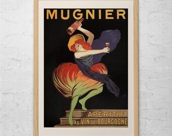 ANTIQUE WINE AD  - Art Nouveau Poster - Mugnier Bar Poster Decor Belle Epoque Poster, High Quality Reproduction Ribba