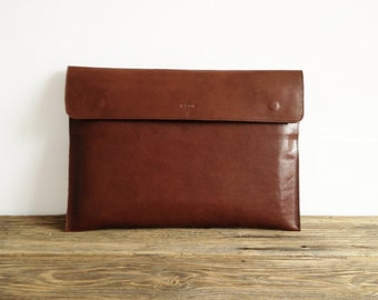 "NEW!! Brown Leather Macbook 12"" Sleeve, Office Bag, Padded, Leather Sleeve, great for a gift"