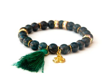 apatite bracelet, apatite jewelry, tassel bracelet, ohm bracelet, apatite beads, healing bracelet, apatite stones, apatite mala,blue apatite