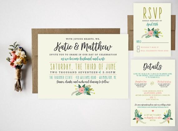 wedding invitation bundle cute floral invite rsvp thank you
