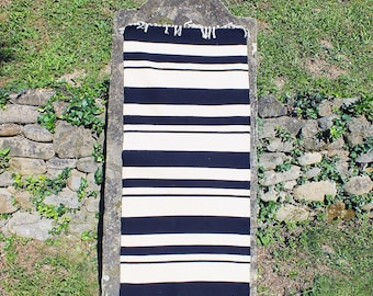 Hand woven wool rug - stylish black and white stripes rug, kilim rug, handmade rug, wool rug, black and white striped rug