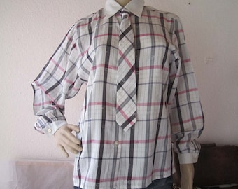 Vintage 80s blouse with tie blouse with tie Basler M