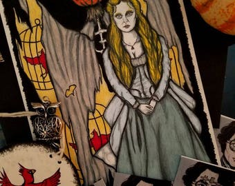 Katrina Van Tassel - Sleepy Hollow Movie Character Art Print - Pumpkin, Scarecrow, Halloween Art, Witch, Tim Burton, Gothic