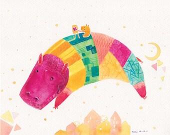 Colorful Hippo Print - Night Flight with Painter - 8x10 Hippopotamus - Nursery Decor Art, Kids Wall Art, Childrens Print